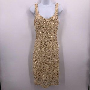 Mystic Tight Sleeveless Gold Sequin Dress Slim Fit